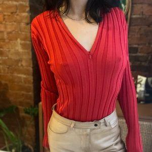 NWT Proenza Schouler Silk Zip Neck Ribbed Red Top
